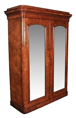 Victorian Figured Walnut Double Wardrobe