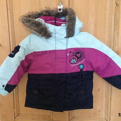 Girls 'Snobug' Padded Winter Colour blocked Jacket With Hood - Age 18 Months