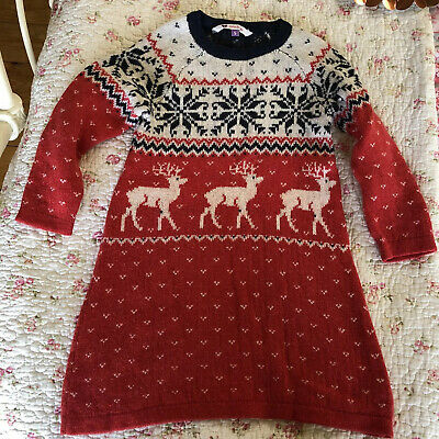 John Lewis Girls Knitted Christmas Dress Age 5 Festive/ Fair-isle Design