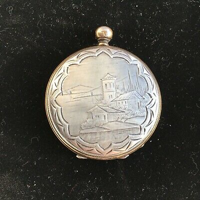 Antique Silver Cylindre Huit Rubis Pocket Watch Engraved Case