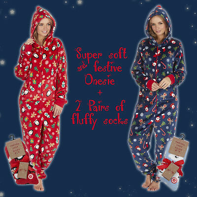 Ladies Womens Xmas 1Onesie with 2 Pairs Bed Fluffy Socks Christmas Lounge Outfit