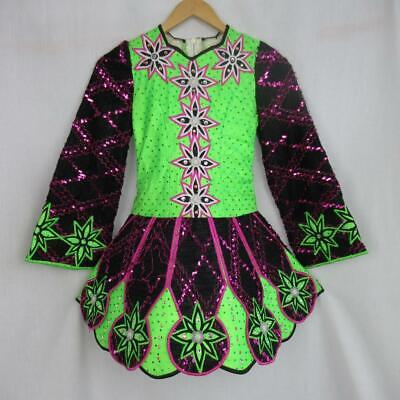 Girl's Irish Dancing Dress Neon Green Pink Sequin Tailor Made Ireland Est 7-8yrs