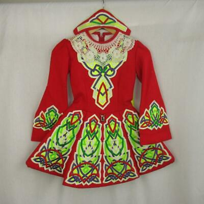 Girls Irish Dancing Dress Red Neon Yellow Lace Headband Tailored Est 8-9yrs