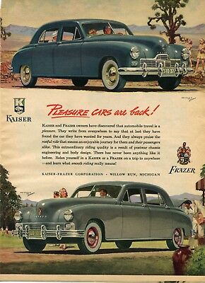 1947 Print Ad of Kaiser & Frazer Corp Pleasure Cars Are Back!