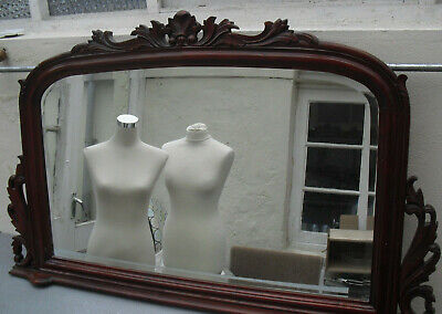 Over mantle mahogany mirror ornate aecanthus leaf Victorian Collect Bideford