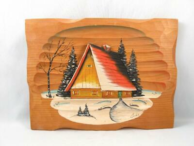 Vintage Rosaire Audet Wood Carved & Hand Painted Wall Plaque Quebec Folk Art