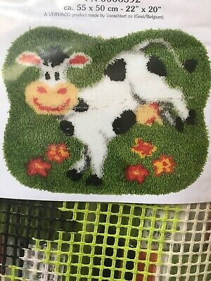 """Vervaco Latch hook rug kit Whimsical Cow Cute!!! Sealed.  22"""" X 20"""""""