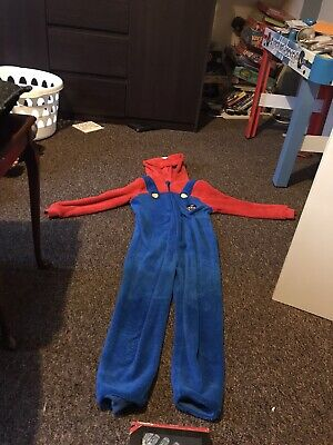 mario All In One With Hood. Fleece Material. 9-10 Years. Good Condition