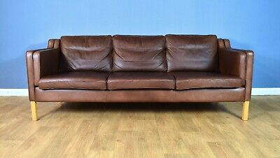 Mid Century Retro Danish Stouby Brown Leather Mogensen Style 3 Seat Sofa 1970s
