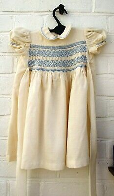 Vintage French Hand Stitched Toddler Or Large Doll Dress With Smocking