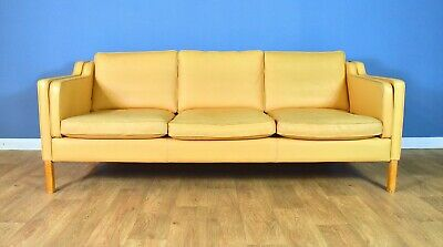Mid Century Retro Danish Stouby Caramel Leather Mogensen Style 3 Seat Sofa 1970s