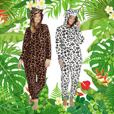Ladies 1Onesie Giraffe Leopard Print Animal Hooded One Piece Pjs All In One NEW