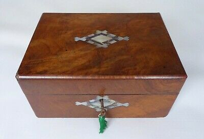 Antique Walnut MOP & Abalone Sewing Box with Tray & Key