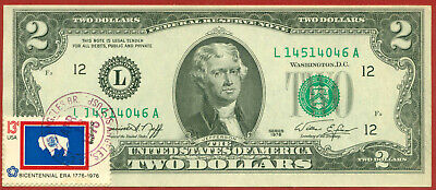 US 1976   2 Dollars ( First day of Issue )  World paper money currency banknotes