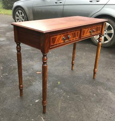 Elegant Mahogany/Yew? Reproduction Hall Console Table With 2 Drawers On Turned L