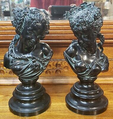 Pair of Circa 1900 French Art Nouveau After Albert Carrier Bronze-Patinated...