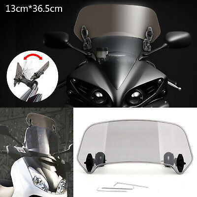 ABS Moto Réglable Clip On Pare-brise Extension Spoiler Wind Deflector Fumée New