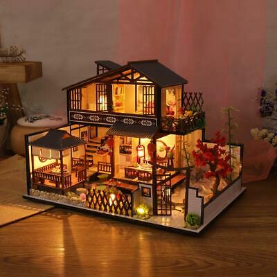 DIY Wooden Dollhouse Kit Miniature Furniture Attic 3D Model With LED Lights