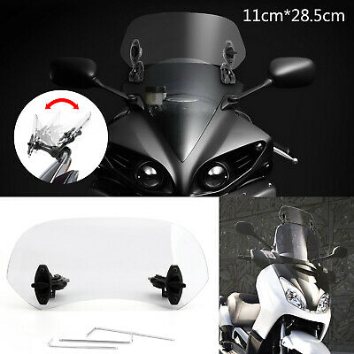 Motorcycle Ajustable Clip On Pare-brise Extension Spoiler Wind Deflector Clair N