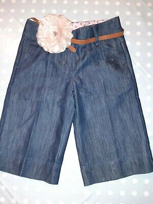 Girls blue Next trousers age 11 years. 3/4 trousers with lovely pink flower