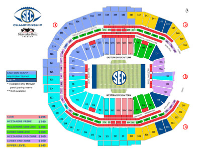 2 Front 1st Row Lower Sideline Aisle SEC Football Championship Tickets Sec 105