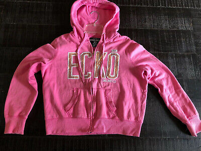 Ecko Unlimited Hooded Jacket Pink With Sequins Size XS