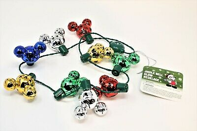 Disney Parks Disneyland Christmas Jingle Bell Glow Necklace Lights Up Mickey NEW