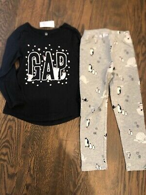 NEW Baby Gap girl HOLIDAY 2-piece black silver grey penguin bear WINTER SET 4 4T