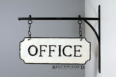 Rustic Hanging Double-Sided OFFICE Embossed Black on White Enamel Metal Sign