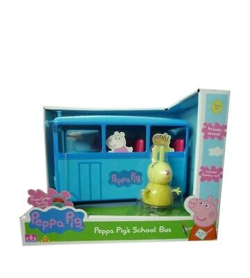PEPPA PIG - People's large school bus INC Miss rabbit,NEW,sounds,opening roof