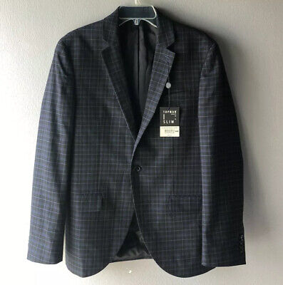 Topman Men's SLIM Plaid Print Blazer Black Blue US 38R NWT MSRP $240