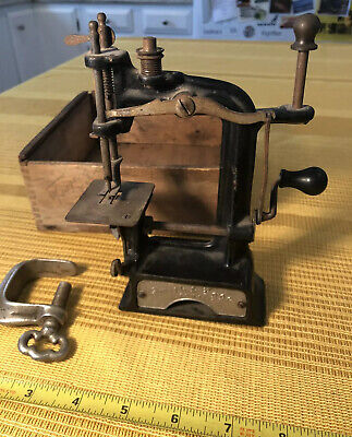Antique Smith & Egge Automatic Toy Sewing Machine With Clamp Thread Top & Box