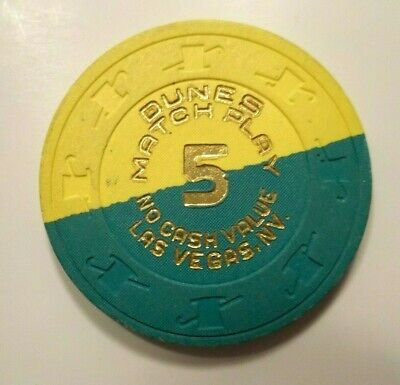 Dunes Casino Hotel Half Pie NCV Poker Chip Obsolete Gambling Las Vegas Nv