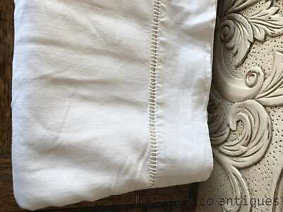 Vintage French metsis (cotton & linen mix) bed sheet ladder stitched end - FD154