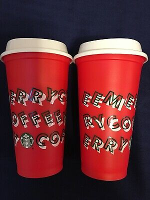 New Starbucks Holiday Christmas 2019 Red Reusable Cup w/ Lid Grande (set of 2)