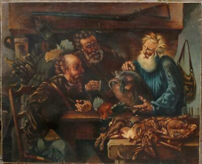 Large Antique Germanl Painting Oil/Canvas Hunters Drinking sign.H.Kohn c.1900