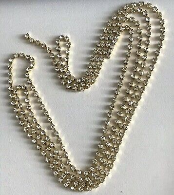 1Meter Golden Tone Garment Chains Crystal Rhinestone Cup Strands