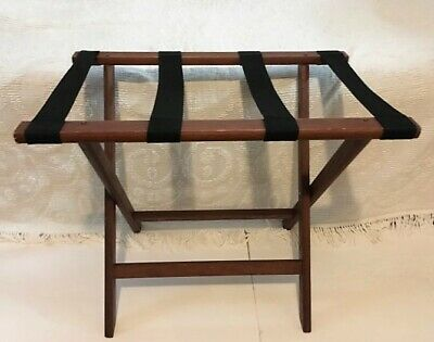 Vintage Hotel Luggage Suitcase Folding Quilt Rack Stand Wood With Fabric Straps