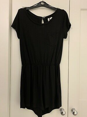 Ladies Girls size Medium H&M Black Cotton T Shirt Short Sleeve Playsuit
