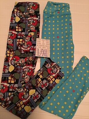 Lularoe Kids 2 Pack Of Leggings Size 8-14 Santa +Blue Design Brand New