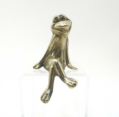 Vintage Brass Sitting Frog Ornament Figurine Metal Ware Legs Crossed