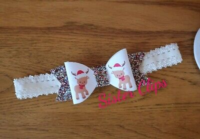 CHRISTMAS Baby Girls glitter Christmas cute rudolph bow Soft headband