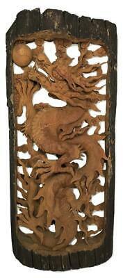 LARGE Antique Chinese Qing Carved Wood Yin Dragon 3-Dimensional Sculpture Panel