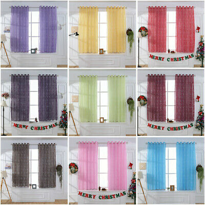 Tulle Merry Letter Printed Window Curtain Drape For Bedroom Living Room Balcony