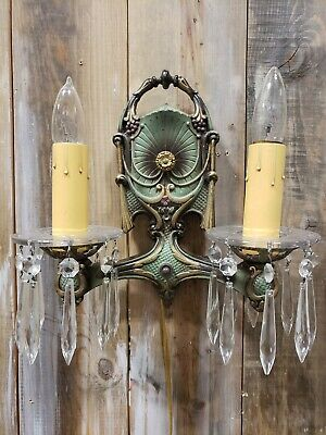 Antique 20's CAST IRON Wall Sconce Original Paint With Crysta DES PAT APPD 923