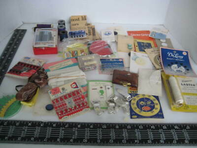 Vintage Lot of Sewing Notions fun estate find - needles buttons fasteners hooks