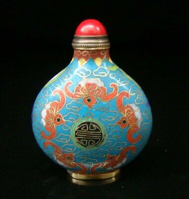 Collectibles 100% Handmade Painting Brass Cloisonne Enamel Snuff Bottles 090