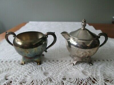 Vintage Silverplated Sugar Bowl and Creamer  4 Footed w F B ROGERS Trade Mark