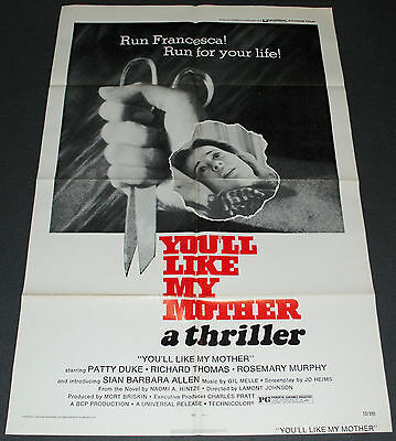 YOU'LL LIKE MY MOTHER 1973 ORIGINAL NM 27x41 MOVIE POSTER! PATTY DUKE HORROR!