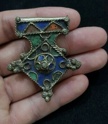 Antique Silver Unique Pendant Old Silver Morocco Wonderful Anamal Work